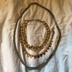 3 Gold Coloured Necklaces